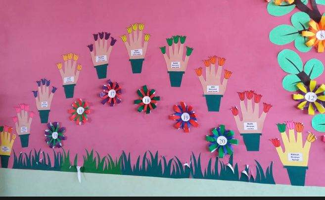 Seorang Mahasiswa Di Universitas Tanjungpura Pontianak Mencoba Membuat Suatu Dekorasi Berbentuk Bunga Yang Bisa Ditempel Dinding Kelas Tempat Beliau