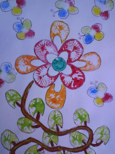 Mengecap Motif Bunga Dengan Pelepah Pisang Dunia Belajar Anak