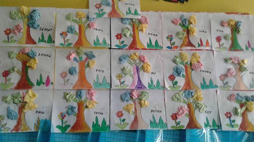 Mewarnai Meremas Menempel Kreasi Bentuk Pohon Dunia Belajar Anak