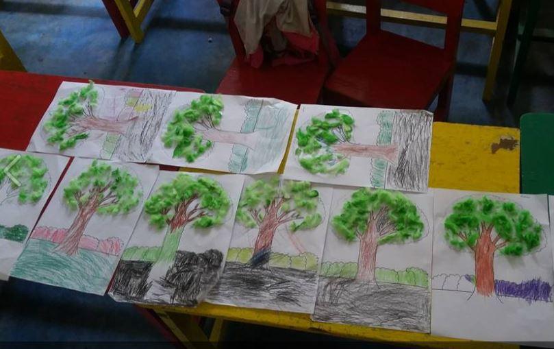 Kreasi Bentuk Pohon Berdaun Kapas Berwarna Dunia Belajar Anak