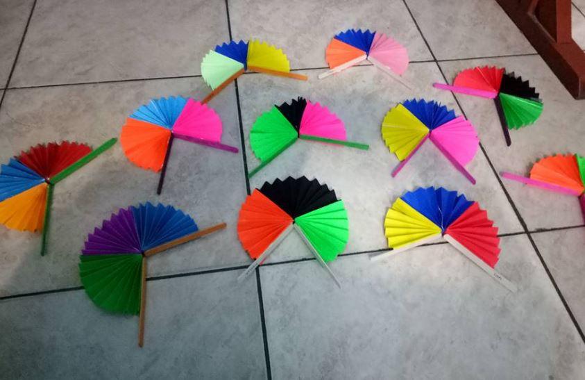Kipas Pelangi Kertas Origami Dunia Belajar Anak